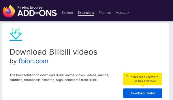 Download Bilibili videos firefox extension