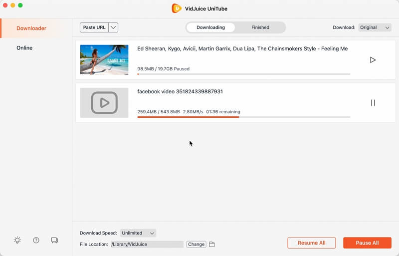 see the downloading progress