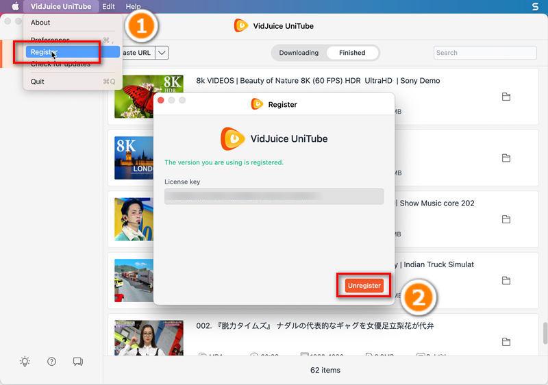 Unregister VidJuice UniTube for Mac