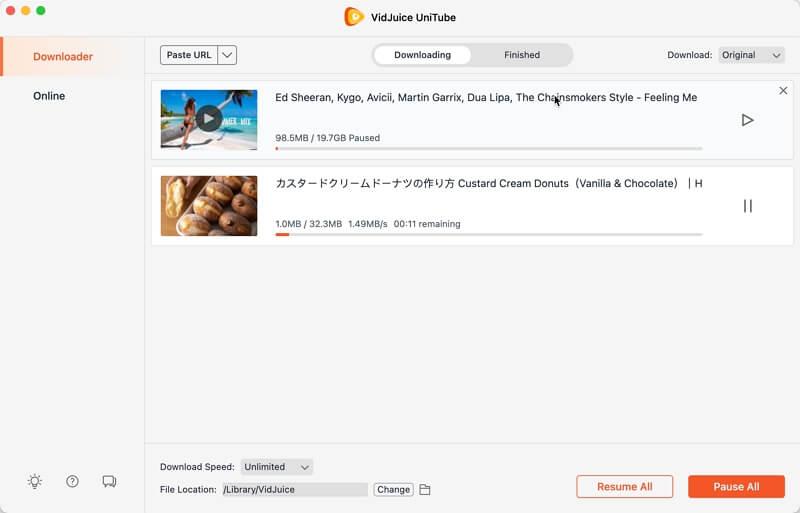 check the downloading progress